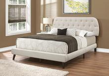 Bed - Queen Size / Beige Linen With Brown Wood Legs