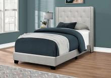 Bed - Twin Size / Light Grey Velvet With Chrome Trim