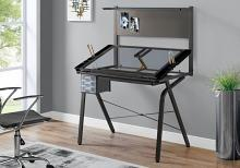 DRAFTING TABLE - ADJUSTABLE / GREY METAL / TEMPERED GLASS