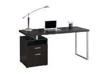 "Computer Desk - 60""L / Cappuccino / Silver Metal"