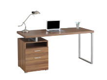 "Computer Desk - 60""L / Walnut / Silver Metal"