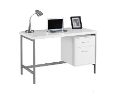 "COMPUTER DESK - 48""L WHITE SILVER METAL"