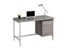 "Computer Desk - 48""L / Dark Taupe / Silver Metal"