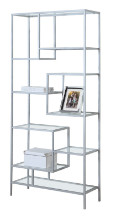 "Bookcase - 72""H / Silver Metal With Tempered Glass"