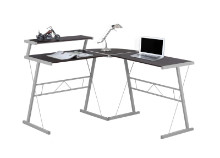 Computer Desk - Cappuccino Top / Silver Metal