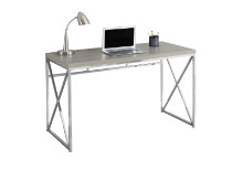 "COMPUTER DESK - 48""L DARK TAUPE CHROME METAL"