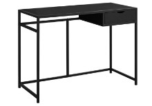 "Computer Desk - 42""L / Black / Black Metal"