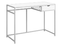 "Computer Desk - 42""L / White / Silver Metal"