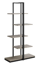 "BOOKCASE - 60""H DARK TAUPE BLACK METAL"