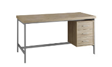 "COMPUTER DESK - 60""L NATURAL WITH SILVER METAL"