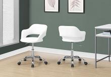 Office Chair - White / Chrome Metal Hydraulic Lift Base