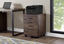 Filing Cabinet - 3 Drawer / Brown Reclaimed Wood/ Castors