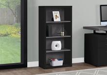 "Bookcase - 48""H / Black / Grey With Adjustable Shelves"