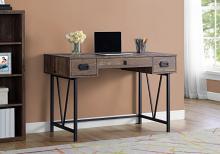 """Computer Desk - 48""""L / Brown Reclaimed Wood / Black Metal"""