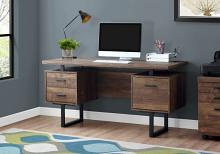 "Computer Desk - 60""L / Brown Reclaimed Wood / Black Metal"