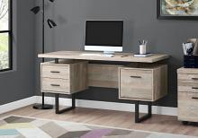 "Computer Desk - 60""L / Taupe Reclaimed Wood / Black Metal"