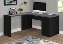 Computer Desk - Black / Grey Top Corner W/ Tempered Glass