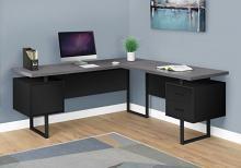 """Computer Desk - 70""""L / Black / Grey Top Left/Right Facing"""