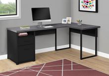 "Computer Desk - 80""L / Black / Grey Top Left/Right Facing"