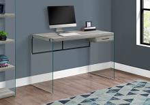 "Computer Desk - 48""L / Grey Reclaimed Wood / Glass Panels"