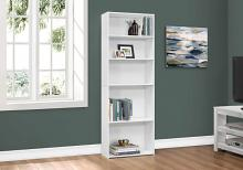 "Bookcase - 72""H / White With 5 Shelves"