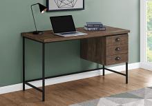 """Computer Desk - 55""""L / Brown Reclaimed Wood / Black Metal"""