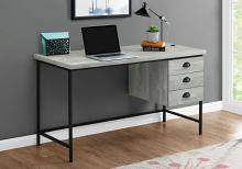 "Computer Desk - 55""L / Grey Reclaimed Wood / Black Metal"