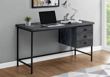 "Computer Desk - 55""L / Black Reclaimed Wood / Black Metal"