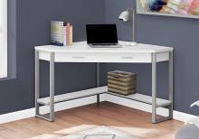 """Computer Desk - 42""""L / White Corner / Silver Metal"""