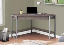 "Computer Desk - 42""L / Dark Taupe Corner / Silver Metal"