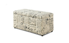 "OTTOMAN - 38""L STORAGE VINTAGE FRENCH FABRIC"
