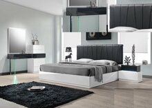 4 pc ireland collection gray and white lacquer finish wood modern style queen bed set with padded headboard