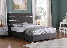 Best Master JJ025-GY Orren ellis dietz grey velvet fabric tufted queen bed set silver accents