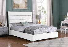 Best Master JJ025-WH Orren ellis dietz white velvet fabric tufted queen bed set silver accents