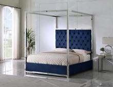 Best Master JJ026-BL Red barrel studio linford blue velvet fabric diamond tufted silver metal queen canopy bed set