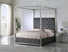 Best Master JJ026-GY Red barrel studio linford grey velvet fabric diamond tufted silver metal queen canopy bed set