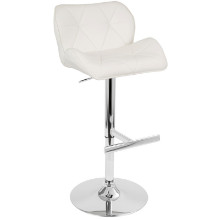 Jubilee Height Adjustable Contemporary Barstool with Swivel in White