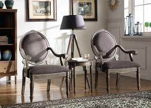Best Master KF0025 3 pc antique gray fabric weathered grey finish wood accent chairs and side table