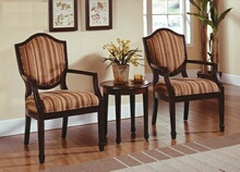 Best Master KF0026 3 pc walnut finish wood accent chairs and side table upholstered with a striped print fabric
