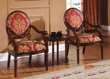 3 pc damask patterned fabric upholstered walnut finish wood accent chairs and side table