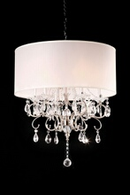 Furniture of america L95109H Christina collection hanging crystals hanging ceiling lamp with wide barrel lamp shade