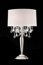 Christina collection hanging crystals table lamp with white barrel shade