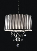 L95123H Christina twisted look hanging crystals ceiling lamp with barrel lamp shade