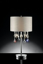 Christina collection hanging crystals and glass ornaments with barrel shade table lamp