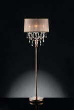 L95126F Christina hanging crystals floor lamp with sheer barrel lamp shade