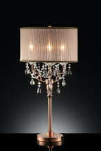L95126T Christina hanging crystals table lamp with collapsible sheer lamp shade