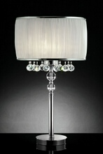 Christina collection hanging crystals table lamp with ruffled barrel shade