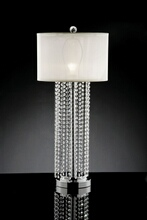 Furniture of america L99142T Christina collection hanging crystal strips table lamp with barrel lamp shade
