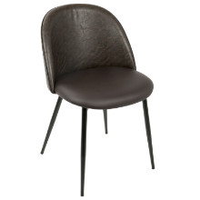 Luna Contemporary Dining/ Accent Chair in Black with  Brown PU  - Set of 2