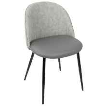 Luna Contemporary Dining/ Accent Chair in Black with  Grey PU  - Set of 2
